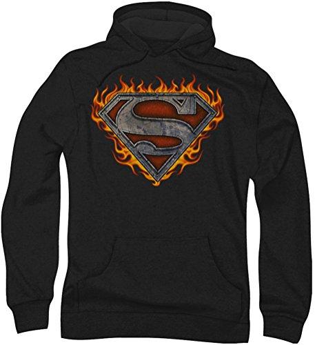 Superman - Hombre de Hierro Escudo de fuego sudadera con capucha, X-Large, Black