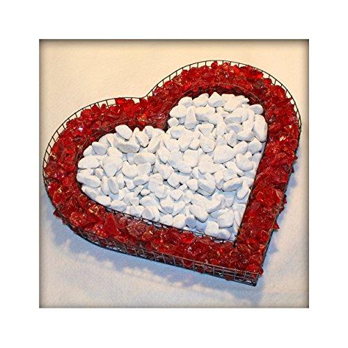 Kieskönig Bellissa Herz Gitter Pflanzschale Grabschmuck Grabgestaltung mit rotem Glassplitt und Marmorkies