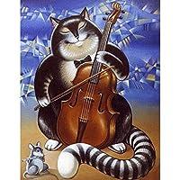 DIY 5Dダイヤモンド塗装キット 楽器を演奏する猫とネズミ 5d ダイヤモンドペインティングキット 子供用 ダイヤモンドジェムペイントキット 30x40cm