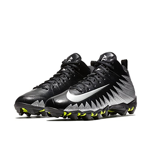 Nike Men's Alpha Menace Shark Wide Football Cleat Black/Metallic Silver Size 9.5 M US