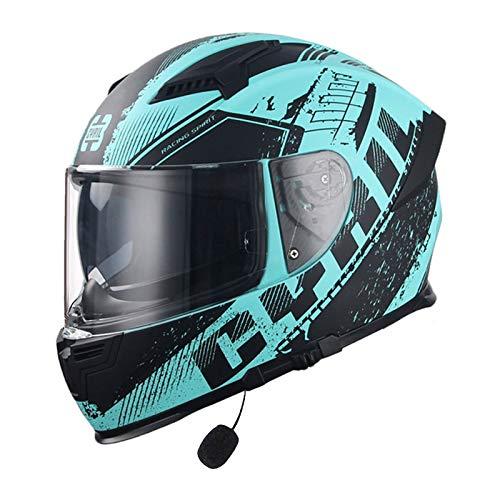 MOMOJA Casco Bluetooth Integrado para Motocicleta, Aprobado por ECE, Antiniebla, Doble Lente, Casco Abatible, Casco Integral con Micrófono Incorporado para Respuesta Automática D,XXXL