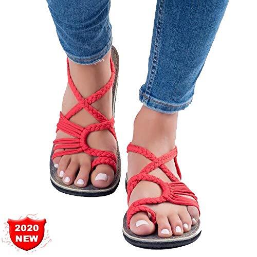 XJBHD Flache Sandalette Damen Comfy Casual Sandalette rutschfest Sommerschuhred-42
