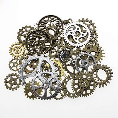 100 gramos de Steampunk Cogs Metal Colgante Cogs Steampunk para la joyería DIY hechos a mano hechos a mano accesorios de la joyería de la aleación (aprox. 70pcs)