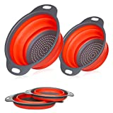 Miswaki Collapsible Colanders with Handles (2 Pc. Set) Round Kitchen Sink Strainers | Heat-Resistant Silicone | Stackable, Space-Saving Design | Pasta, Vegetables, Hot Water (Red)
