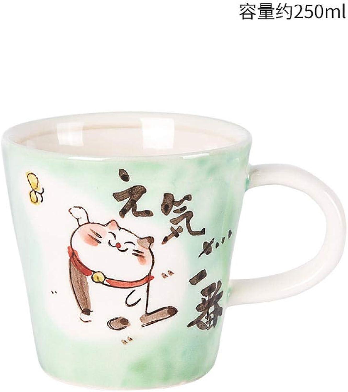 Tasse de café en céramique peinte à la main créative de chat feng shui mignon tasse de café @ vert (en bonne santé)