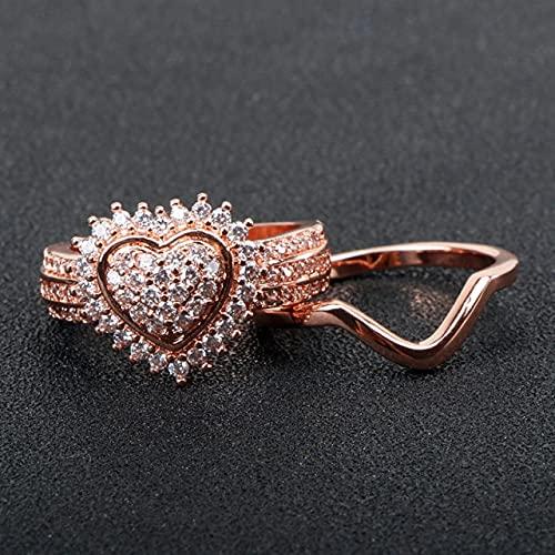 DJMJHG Anillo con dijes de joyería de Plata 925 en Forma de corazón para Mujer, Conjunto de Anillos de Dos Piezas con Piedras Preciosas, Color Oro Rosa 9 Blanco