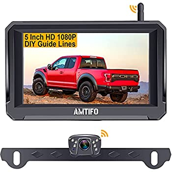 AMTIFO A6 Wireless Backup Camera HD 1080P Kit,Bluetooth Rear View Camera 5 Inch Split/Full Monitor System for Trucks,Cars,Campers,Vans Stable Digital Signal,Support Second Camera for Truck,Car,RV