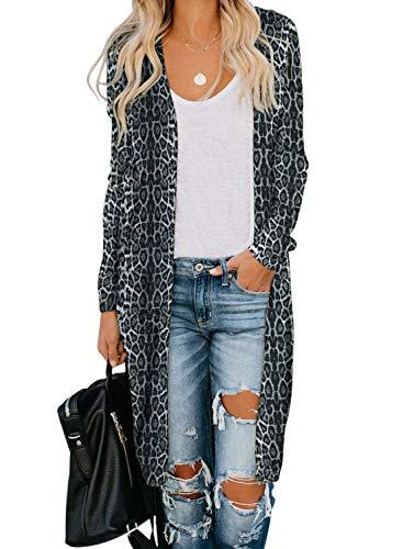 GOSOPIN Women Snap Open Front Long Knit Ribbed Cardigans Outwear X-Large Black Leopard