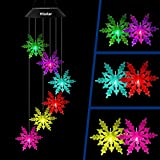 HiSolar Snowflake Solar Wind Chimes Light Color Changing Solar Mobile Waterproof LED Solar Powered Wind Chimes for Home Party Yard Garden Decor,Gifts for mom Birthday Gifts