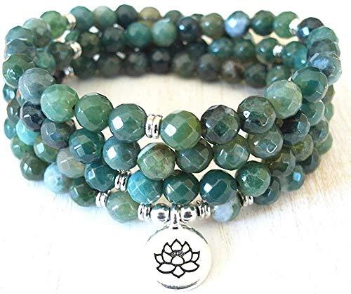 TYWZH Collar 8 Mm Ágatas musgosas con Cara 108 Collar Mala Nuevo Lotus Mujeres Yoga Protección de la joyería Pulsera Espiritual