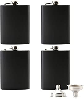 Tebery 8 oz Stainless Steel Black Hip Flask Set Leakproof Flask with Free Bonus Funnel Great Groommans or Bridal Wedding Gift, Set of 4