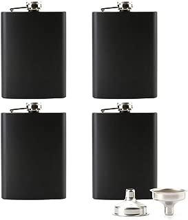Tebery 8 oz Stainless Steel Black Hip Flask Set Leakproof Flask with Free Bonus Funnel Great Groommans or Bridal Wedding Gift, Set of 4