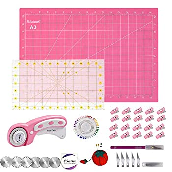 Rdutuok 45mm Rotary Cutter Set Quilting Kit 6 Replacement Blades A3 Cutting Mat 18X12   Acrylic Ruler,Sewing Pins,Cushion,Craft Knife Set and Craft Clips - Ideal for Sewing,Crafting,Patchworking