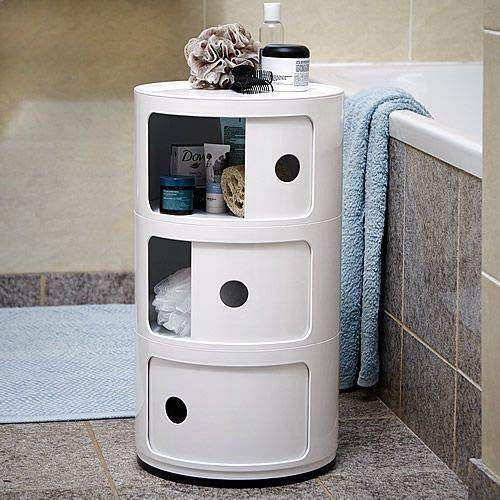Costello® 3 TIER BATHROOM STORAGE UNIT BEDROOM ROUND CORNER ABS PLASTIC MULTI PURPOSE CABINET DRAWER HALLWAY (3 TIER ALL WHITE)
