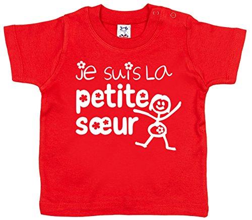 Dirty Fingers Je suis la Petite Soeur T-Shirt bébé 18-24 Mois Rouge