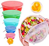 ExcelGadgets Silicone Stretch Lids, Reusable Silicone Lids, Replacement Lids,【6 Pack of Platinum Grade Lids】Silicone Food Bowl Covers for Food Storage, Reusable Saran Wrap, Microwave, Oven & Dishwasher Safe