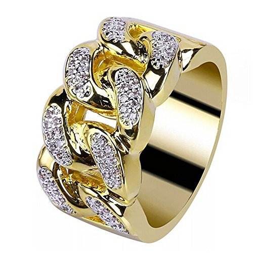 jieGorge Men and Women Electroplate Gold Diamond Ring Jewellery Wedding Ring , Rings , Products for Xmas Day (Gold)