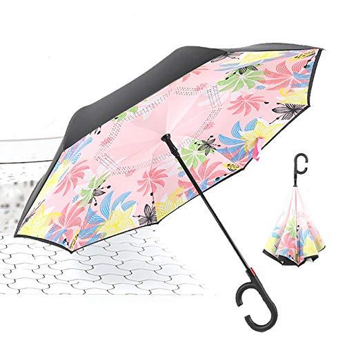 ZHAO Paraguas, Paraguas Invertido con Mango En Forma De C, Paraguas Recto De Doble Capa, Resistente A La Lluvia, 106 Cm