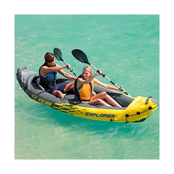 Intex Pack Kayak Doble Hinchable Excursion Pro + 2 Chalecos Ayuda a la Flotación (1 Adulto y 1 Juvenil) 1