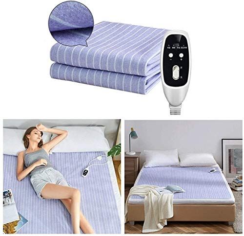 miwaimao Electric Blanket Double Size Dual Control - Fully Fitted Heated Mattress Cover/Underblanket with Elasticated Skirt - Built In Advanced Overheat Protection System with Auto Safety Shut Off.