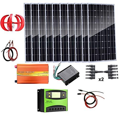 AUECOOR 1,4 kW Wind-Solar-Leistung: 400 W Windturbinen-Generator & 10 Stück 100 W Mono-Solarpanele & 3000 W Off-Gitter-Wechselrichter & Kabel-Anschluss & Zubehör Heimboot, Wohnmobil