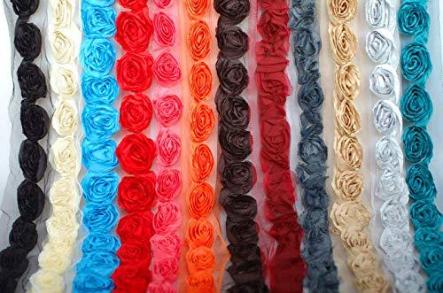 Découpe de roses douces sculptées en mousseline de soie, par la cour. Garnitures de ruban en tissu de Neotrims; Découpage en forme de rose en tissu mousseline doux, Red, 1 meter