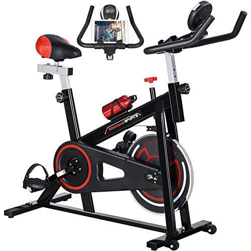 Exercise Bike Indoor Cycling Bike Stationary 35lb Flywheel Bicycle with 4-way Seat, Ipad Mount, Aluminum alloy & Padded Seat Cushion