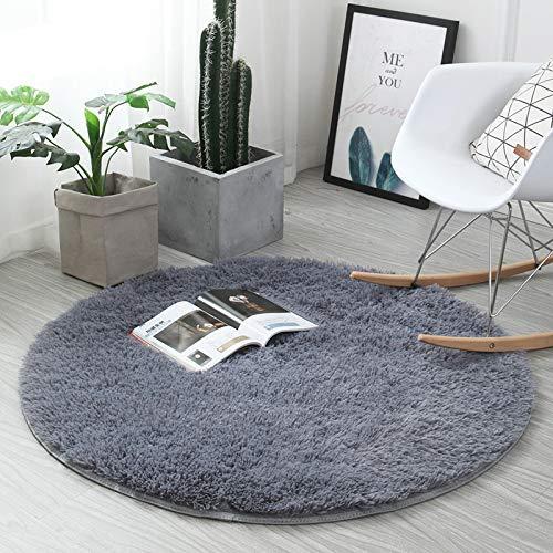 ZHOUZEKAI Teppich, Runde Seide Wolle Material Yoga Teppich für Wohnzimmer Schlafzimmer und Bad,Teppich Seidige Glatte Teppiche, (Grau, 100cm)