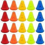 20pcs cônes d'entraînement pour enfants,cônes multifonctionnels pour enfants, obstacles de patinage à roulettes, obstacles de patinage à roulettes, obstacles d'entraînement de football