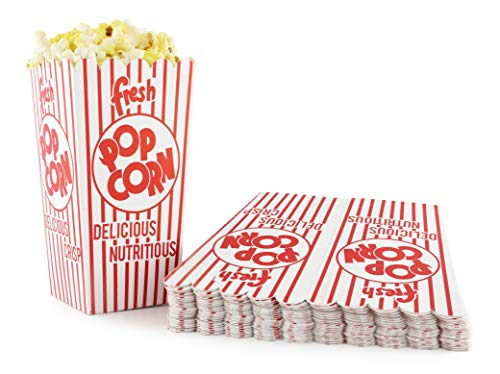 Snappy 44-E Red & White Open Top Popcorn Boxes, .8 Oz. 100Count