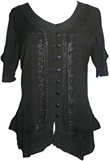 305 B Medieval Bohemian Embroidered Button Down Shirt Blouse