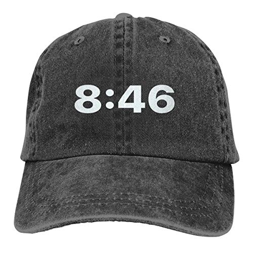 8:46 Baseball Cap,Classic Adjustable Dad Hat Black