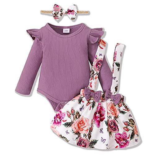 ZOEREA Conjunto Bebé Niña 3-6 meses Recien Nacido Ropa Manga Larga Mameluco con Volantes Mono Body + Falda de Tirantes Floral + Diademas Púrpura