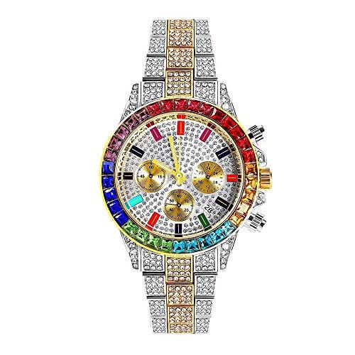 AUkaiqu12 Reloj de Diamantes de Tres Colores para Hombres Reloj de Diamantes Bling Bling Ice out Relojes de Diamantes de imitación Banda de Acero Esfera Redonda Hip Hop analógico Reloj para Hombres