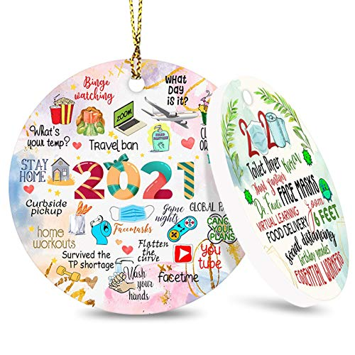 Forbeautiful 2021 Christmas Ornaments, Commemorative Ornament, Pandemic Ornament, Quarantine Ornament, Ceramic Round Ornament & Ribbon for Xmas Tree Ornament Hanging Accessories