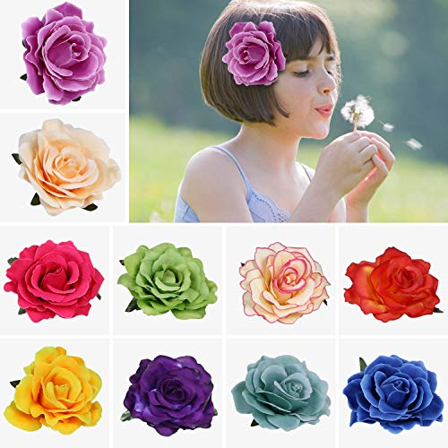URAQT Clips de Pelo de Flor, Pinzas Hawaianas de Flores, pinzas para el pelo con diseño de rosas para boda, novia, boda, boda, boda, tocado, cenicero de flamenco, 10 Colores, 10 PCS
