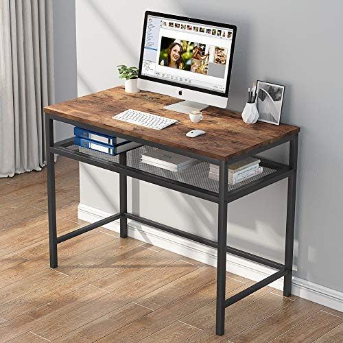 Computertisch Schreibarbeitsplatz PC Notebook Laptop Studiertisch Schreibtisch Schreibtischarbeitsplatz mit Eisenrohrrahmen und Drahtgaze-Lagerregal für das Home Office von Tribesigns