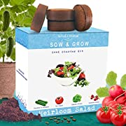Nature's Blossom Heirloom Salad Vegetables Growing Kit. Grow 4 Heirloom Vegetables from Organic Seeds. Gardening Set Contains Vegetable Seeds, Growing Pots, Soil, Plant Labels and a Gardening Guide.