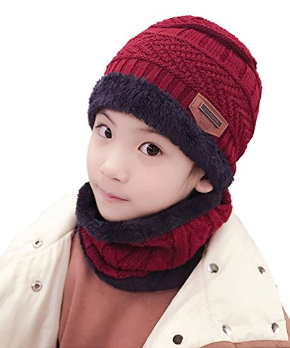 Winter Hats Scarf for Boys Girls (5-14 Years) Warm Snow Knit Beanie Windproof HINDAWI Circle Scarf Kids Slouchy Skull Cap Red
