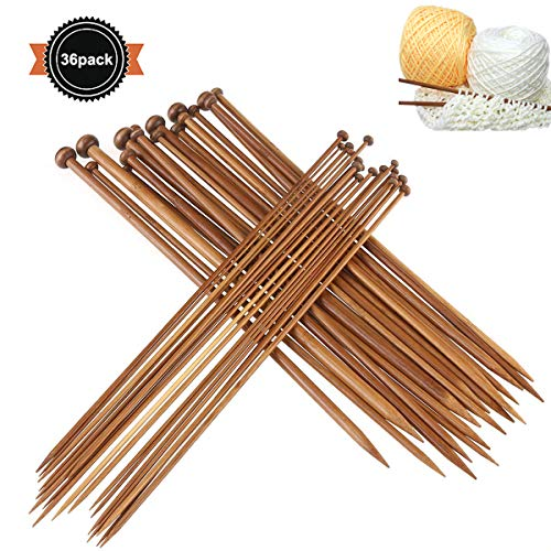 Dokpav 36Pcs 18 Tamaños Agujas de Tejer de Bambú (2.0mm a 10.0mm), Agujas de Madera, Agujas de Punto para Suéter, Proyecto de Encajes y Flores- Mejor Set Principiantes y Profesionales