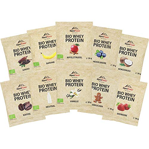 ALPENPOWER | BIO WHEY Protein Probierbox- 10 Sorten | Ohne Zusatzstoffe | 100% natürliche Zutaten | Bio-Milch aus Bayern und Österreich | Echte Superfoods | Hochwertiges Eiweißpulver | 10x 30g