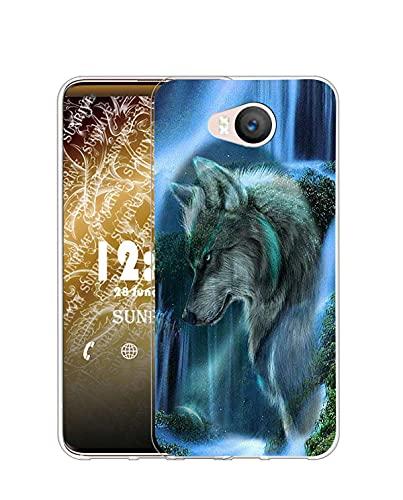 Sunrive Kompatibel mit Elephone P9000 Lite Hülle Silikon, Transparent Handyhülle Schutzhülle Etui Hülle (Q Wolf 3)+Gratis Universal Eingabestift MEHRWEG