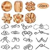 YGZN Metalldraht Puzzle Set von 22 mit Tasche, IQ Test Mind Game Denkaufgabe Zaubertrick Spielzeug...