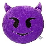 Emoji Devil Face Emoticon Cushion Stuffed Plush Soft Pillow, Official Certified, EvZ 32cm Purple