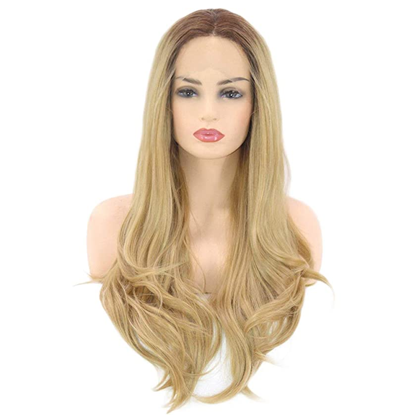圧縮された雇用集団女性のための大きな波状の長い巻き毛のかつら自然な合成繊維耐熱性高品質かつら無料ウィッグキャップゴールド26インチ