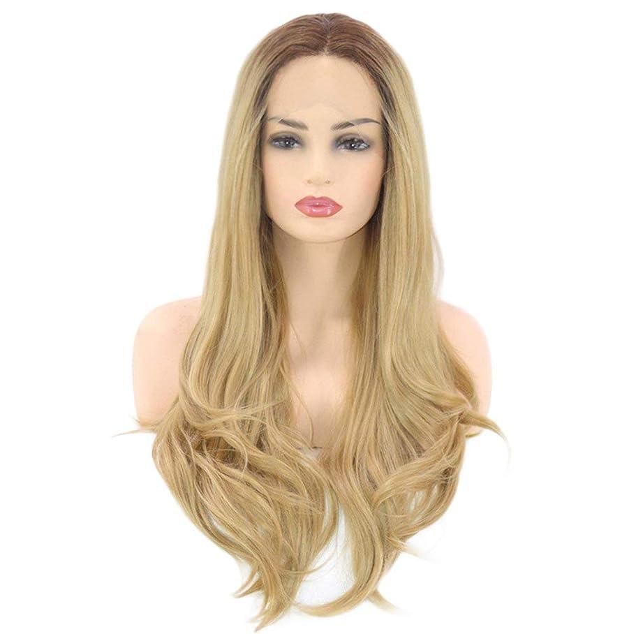 刃降雨ガイダンス女性のための大きな波状の長い巻き毛のかつら自然な合成繊維耐熱性高品質かつら無料ウィッグキャップゴールド26インチ