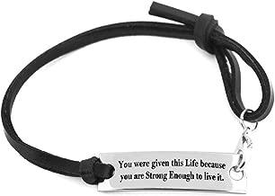 YOYONY Minimalism Leather Strap Monogrammed Bracelets,Gifts for Women/Men.