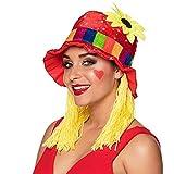 Boland 01213 – Chapeau Clara en tissu coloré tournesol, taille unique, cheveux jaunes, arc-en-ciel, rouge, paillettes pailletées, carnaval, Halloween, fête à thème, déguisement, théâtre, accessoire