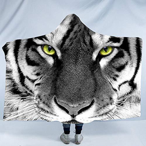 Irisbell Hooded Blanket Tiger Theme Oversized Sherpa Fleece Throw Wearable Blankets Hoodie Cloak (3, Adult(80'' x 60''))