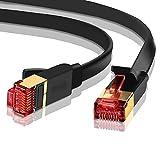 IBRA® 30M Cable de Red Gigabit Ethernet LAN Cat.7 (RJ45) CAT7 (Avanzado) | 10 Gbps a 600 MHz | Cables Chapado en Oro Plug STP | Patch | Router | Módem| Negro Oblato